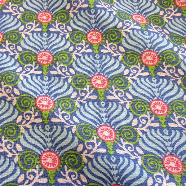 Stoff Baumwolle Ornamente Fächer blau weiß grün koralle retro Patchwork