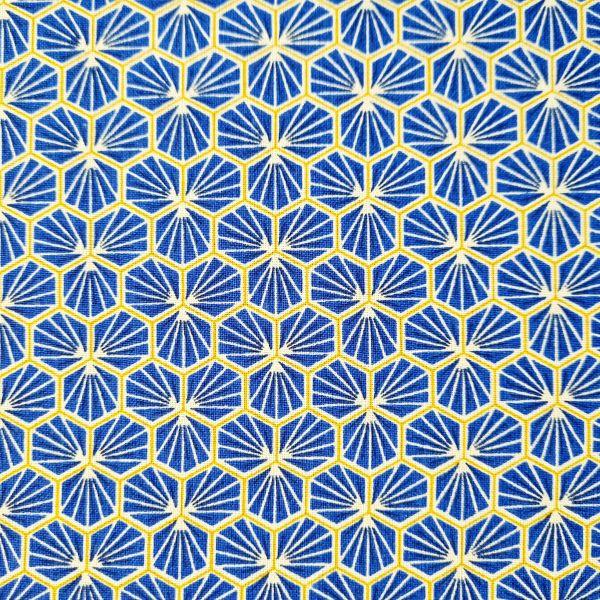 Stoff Baumwolle Royalblau Blüten Waben sechseck grafisch Riad 0,5