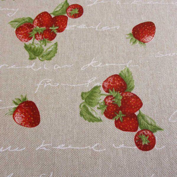 Stoff Erdbeeren Handschrift Leinenlook Baumwolle Mischgewebe stabil Landhaus Country