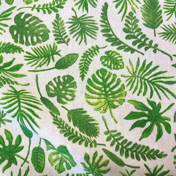 Stoff Baumwolle Meterware ecru weiß grün Blätter Dekostoff Urban Jungle