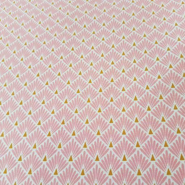 Stoff beschichtet Baumwolle Raute Fächer rosa messing