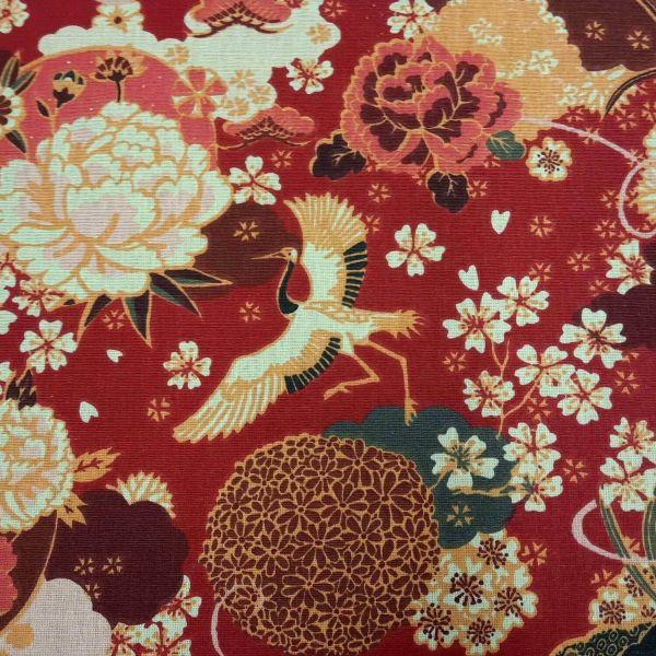 Stoff Baumwolle Kranich Ikebana rot rosa elfenbein 0,5