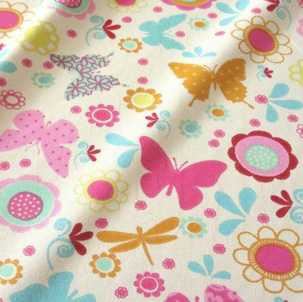Stoff Baumwolle Jersey Schmetterling Libelle bunt ecru 185cm breit