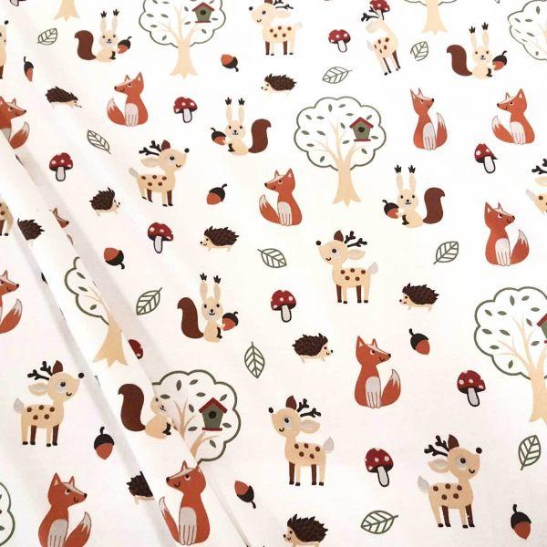 Stoff Meterware Jersey weiß Fuchs Igel Eichhörnchen Reh Kleiderstoff