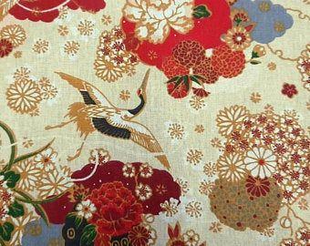 Stoff beschichtet Baumwolle Kranich Ikebana creme bordeaux gelb 0,5