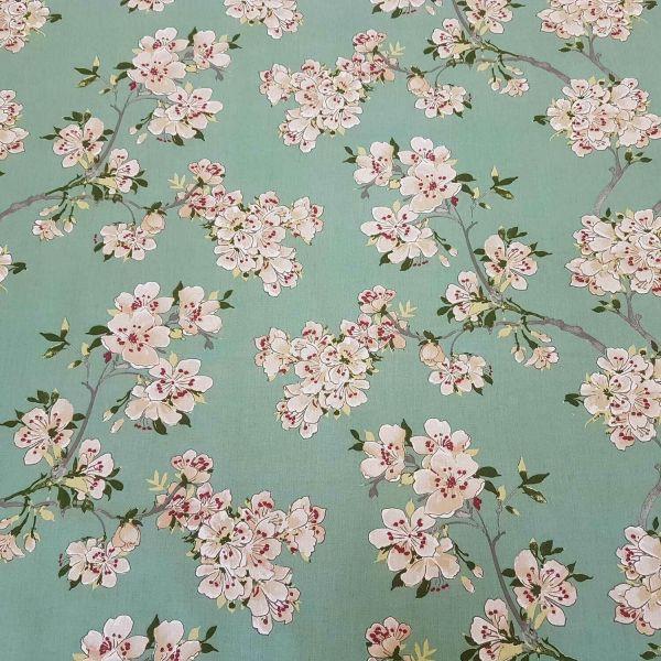 Stoff Meterware Baumwolle Jade grün Apfelblüten Blüten Pflaumenblüten