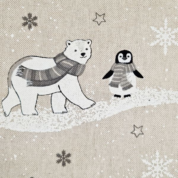 Stoff Baumwollstoff natur Eisbären Pinguine grau weiss 0,5