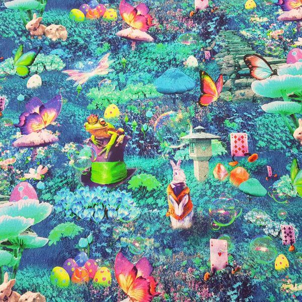 Stoff Baumwolle Alice im Wunderland Kaninchen Spielkarten bunt
