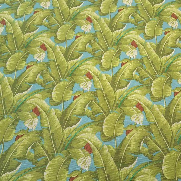 Stoff Meterware beschichtet grün blau Banane Blätter Dschungel Tischdecke