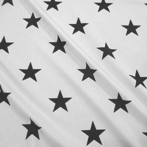 Stoff Meterware Baumwolle Sterne XXL weiss schwarz