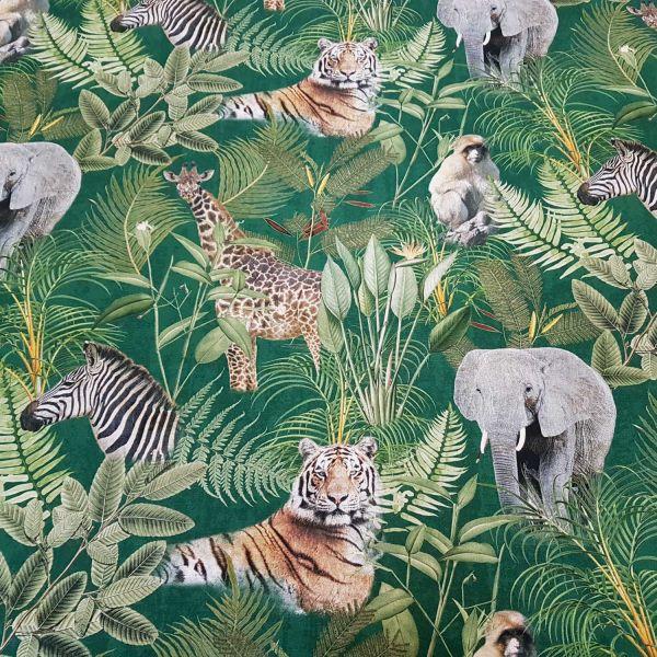 Kurzstück Stoff Baumwolle Fotodruck Tiger Elefant Giraffe 0,50m x 1,40m