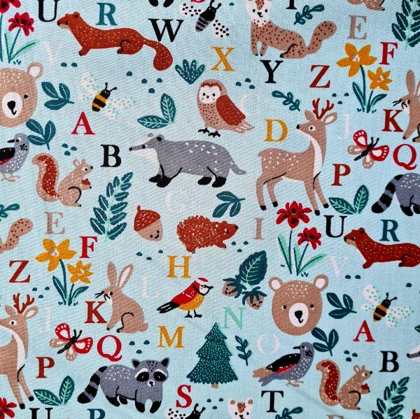 """Stoff Baumwolle """"Bois"""" mint Waldtiere Buchstaben Kinderstoff 0,5"""