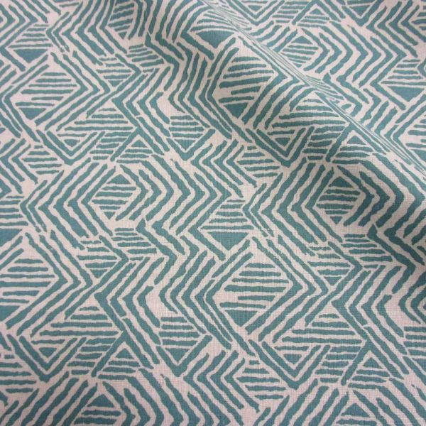 Stoff Baumwolle Ethno celadon ecru Grafik Linien Winkel