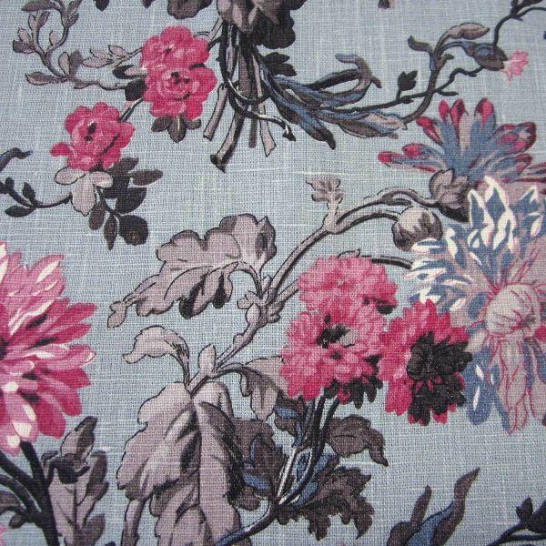 Stoff Leinen Meterware hellgrau Blumen Ranken pink jeansblau taupe 0,5