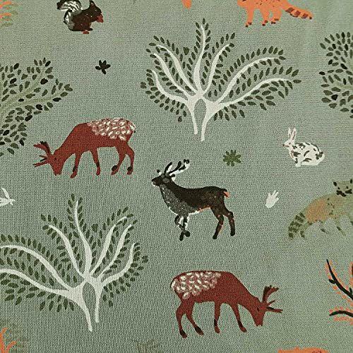 Stoff Baumwolle mintgrün Waldtiere Eichhörnchen Reh 0,5