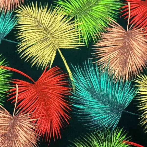 Stoff Baumwolle Meterware Farn Blätter Federn bunt aus Frankreichh 0,5