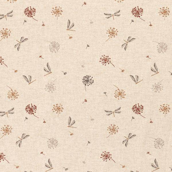 Stoff Baumwollstoff pflegeleicht natur Libellen + Pusteblumen 0,5