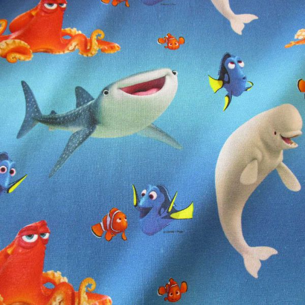 "Stoff Meterware Jersey blau Dorie Nemo Disney ""Findet Dorie"""