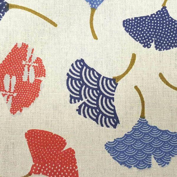 Stoff Baumwolle Ginko Japan ecru rot blau 0,5