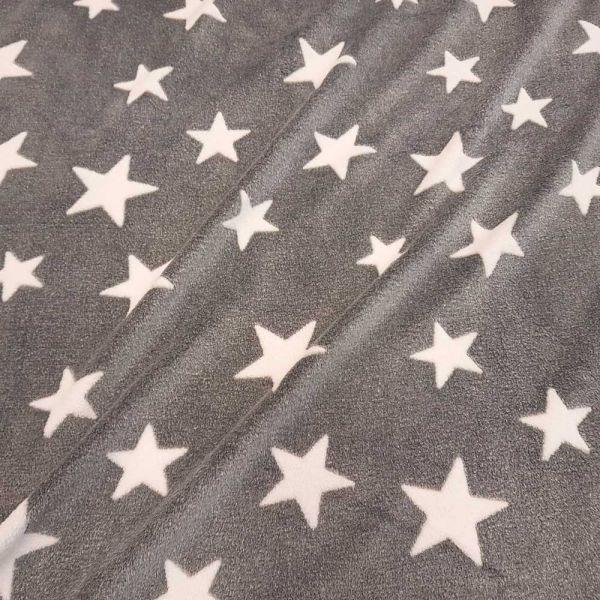 Stoff Meterware Wellness Fleece grau weiß Sterne Softplüsch