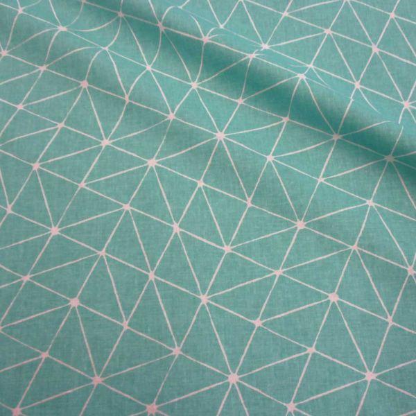 Stoff Baumwolle Japan Origami Grafik türkis weiss