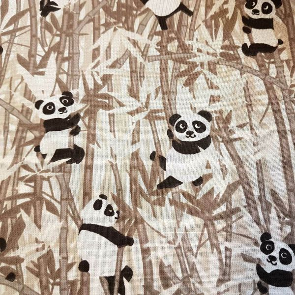 Kurzstück Stoff Baumwolle Meterware Panda Bambus beige Baby Zoo 0,75m x 1,60m