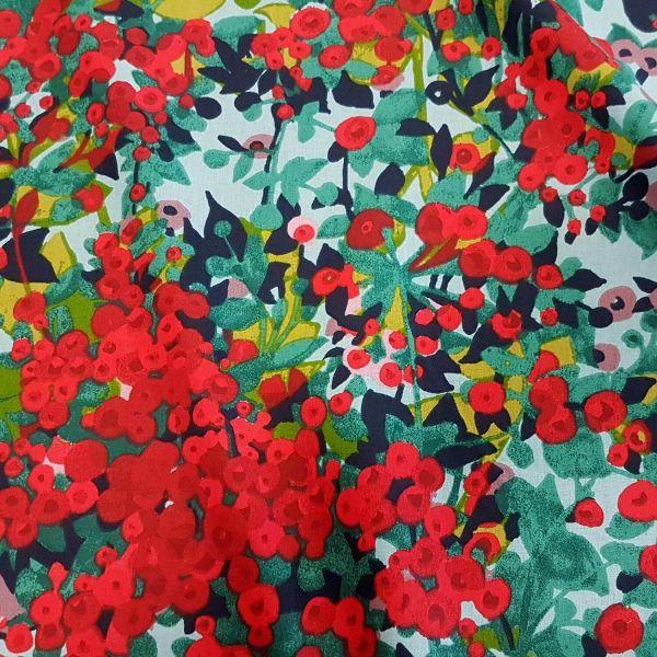 Stoff Meterware Baumwolle rote Beeren Vogelbeeren Frankreich 0,5