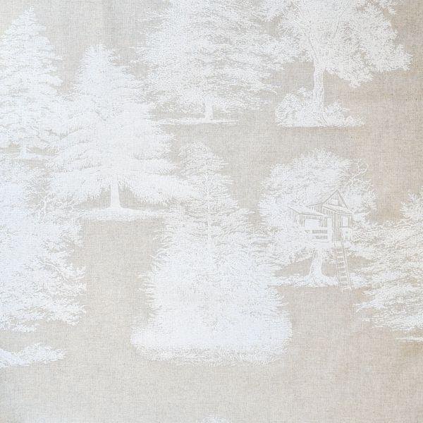 Stoff Baumwollstoff natur Wald Bäume weiss 0,5