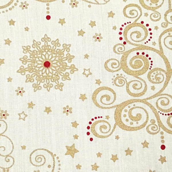 Stoff Meterware Baumwolle creme gold rot Ornament Weihnachten Weihnachtsstoff