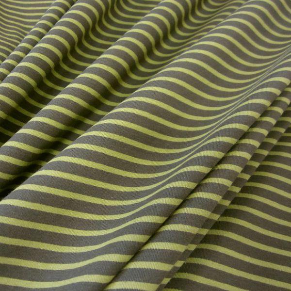 Stoff Baumwolle Jersey Streifen Ringel oliv lime Streifen gestreift