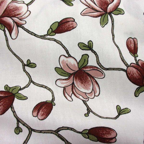 Stoff Baumwolle Magnolie Altrosa grün Schweden