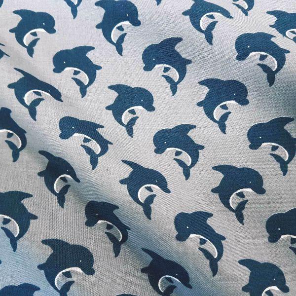 Stoff Baumwolle grau Delfin marine