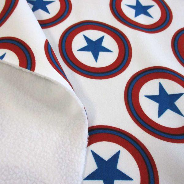Stoff Softshell Sterne Kreise weiß rot blau neu Superheld