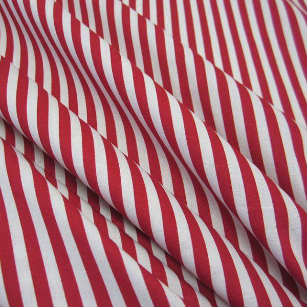 Stoff Baumwolle Popeline rot weiß Streifen gestreift 5 mm