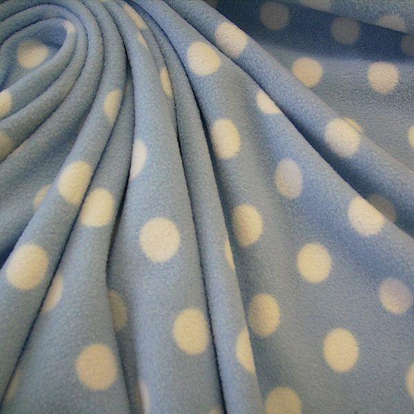 Stoff Meterware Polar Fleece hellblau weiss Punkte weich warm kuschelig antipilling SONDERPREIS