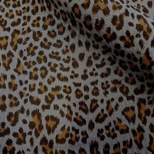 Stoff Meterware Baumwolle Musselin Leo grau beige animal print