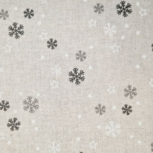 Stoff Baumwollstoff natur Schneeflocken Sternchen weiss grau 0,5