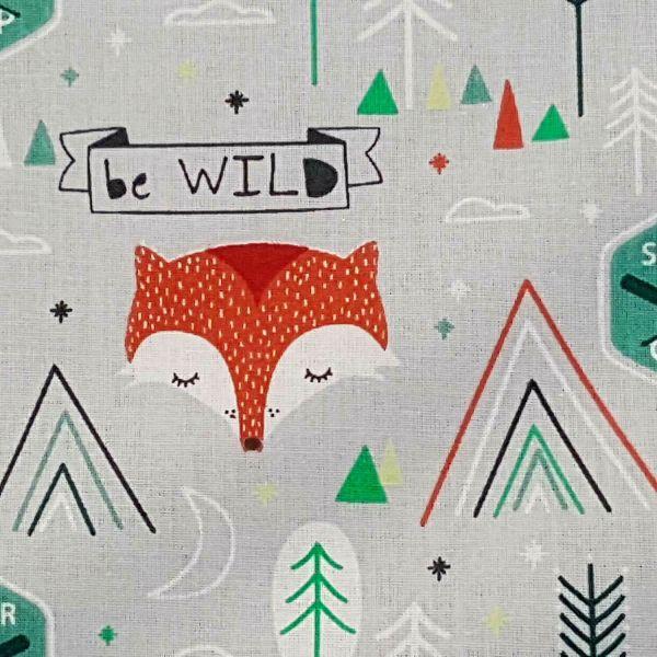 Stoff Meterware Baumwolle grau Fuchs Camp wild Dekostoff Frankreich 0,5