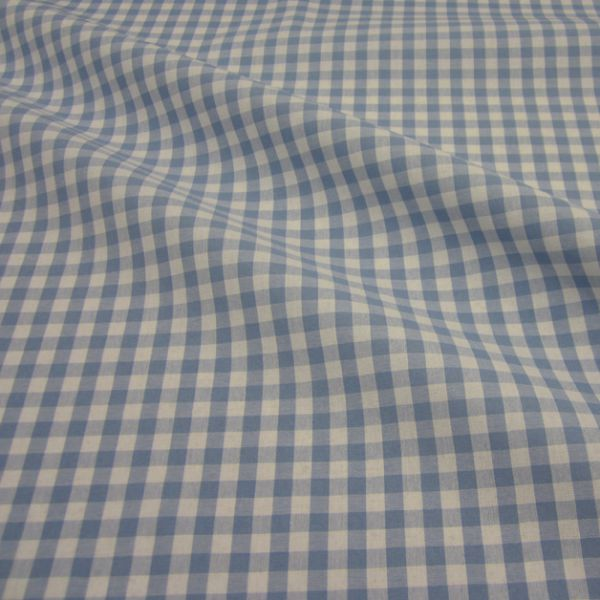 Stoff Baumwolle Bauernkaro hellblau weiß kariert Karo Meterware 0,5