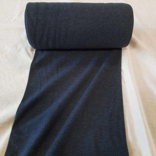 Bündchenstoff Jersey Schlauchware dunkelblau meliert jeansblau Bündchen 0,5