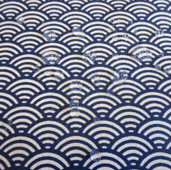 Stoff beschichtet Baumwolle Wellen blau indigo Seigahia Japan