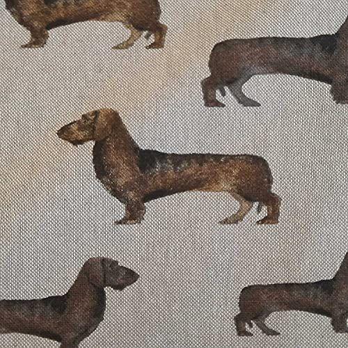 Stoff Meterware Baumwolle pflegeleicht natur Dackel Dachhund 0,5