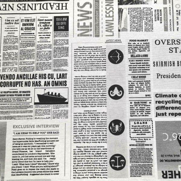 Stoff Zeitung schwarz weiß Baumwolle pflegeleicht 0,5