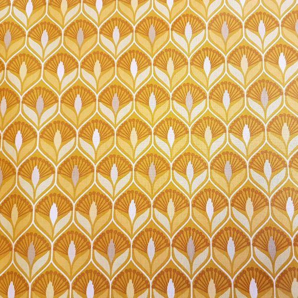 Stoff beschichtet Baumwolle maisgelb Imperial Ornament retro 0,5