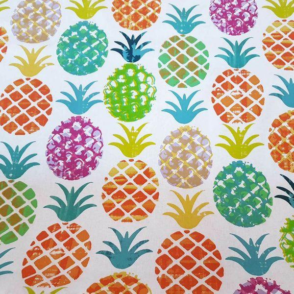 Stoff Meterware Baumwolle weiß bunt Ananas Stempel groß Früchte Frankreich