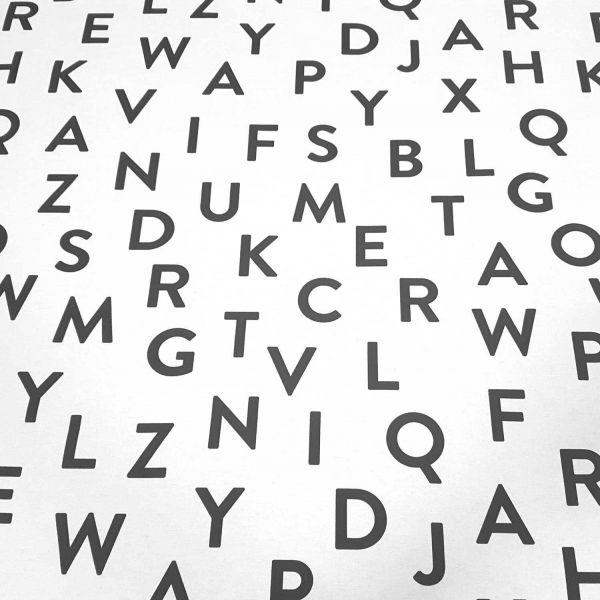 Stoff Baumwollstoff schwarz weiß Buchstaben A bis Z pflegeleicht ABC Alphabet