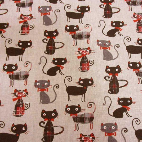 Stoff Baumwolle Stoff Baumwolle Katzen + Karos beige rot schwarz grau