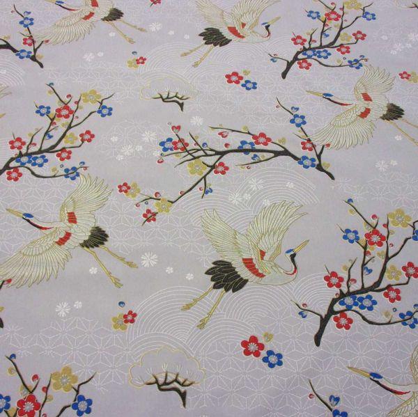 Stoff Baumwolle Kranich+ Kirschblüten grau Kimono 280cm breit