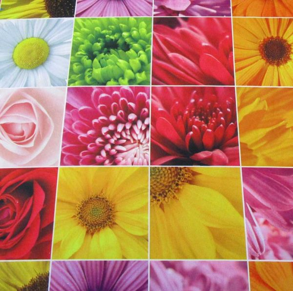 Stoff Meterware Blumen Blüten Fotodruck Dekoration Blumengeschäft