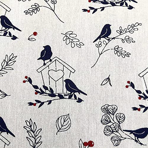Stoff Baumwollstoff Vögel und Zweige dunkelblau weiss 0,5